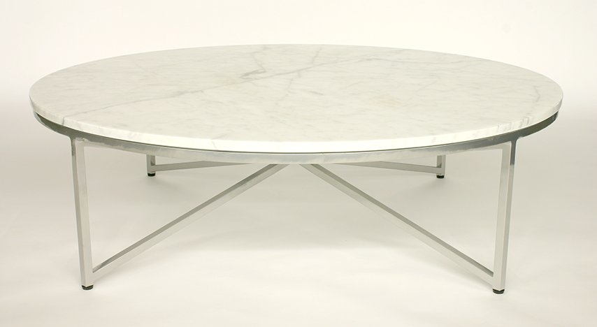 Impressive Popular White And Chrome Coffee Tables With Round Marble Coffee Table (Image 32 of 50)