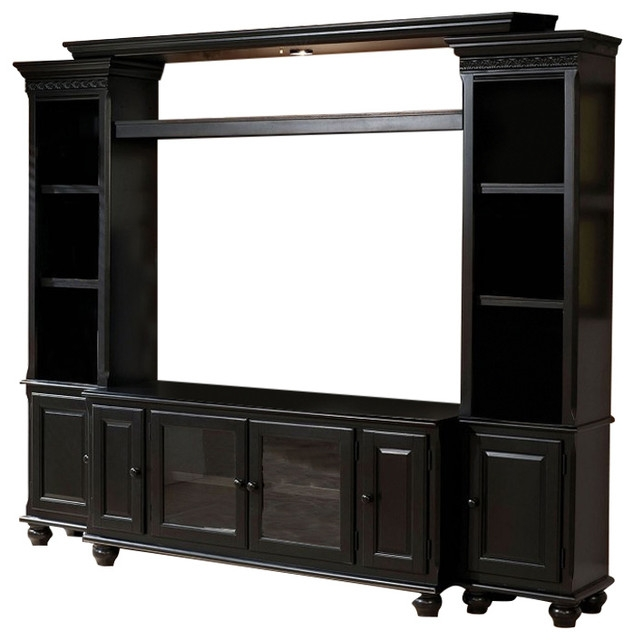 Impressive Preferred Black TV Stands Intended For Ferla Traditional Black Entertainment Center Tv Stand Bridge Side (View 28 of 50)