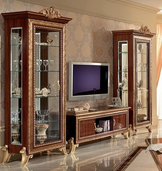 Impressive Preferred Classic TV Cabinets With Regard To Classic Tv Cabinet With Side Display Cabinet With Golden (Image 28 of 50)