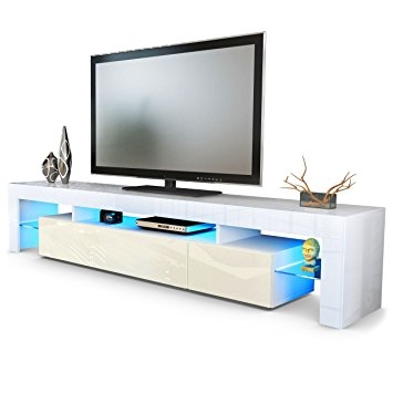 Impressive Preferred Cream Gloss TV Stands With Tv Stand Unit Lima V2 Carcass In White Front In Cream High (View 34 of 50)