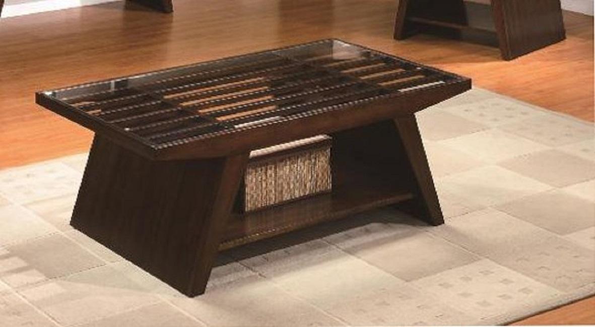 Impressive Preferred Espresso Coffee Tables Regarding 4228 01 Midori Espresso Coffee Table With Glass Top (View 8 of 50)