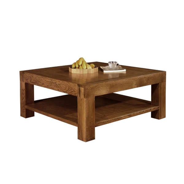 Impressive Preferred Oak Coffee Tables With Shelf With Regard To Sandringham Solid Dark Oak Furniture Square Coffee Table With (Image 23 of 40)