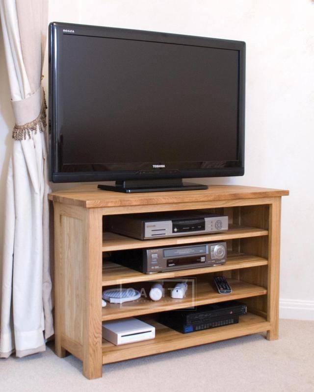 Impressive Preferred Solid Oak TV Cabinets Within Edinburgh Solid Oak Corner Tv Cabinet Oak Tv Stands (View 23 of 50)