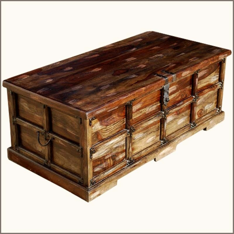 Impressive Preferred Storage Trunk Coffee Tables With Regard To Wood Storage Trunk Chest Box Coffee Table Rustic Coffee Tables (Image 31 of 50)