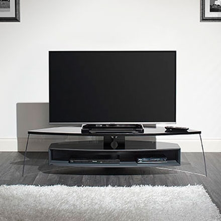 Impressive Preferred Techlink Air TV Stands Regarding Techlink Air Curve Ac150bsg Tv Stand Up To 70 Tvs In Gloss Black (Image 28 of 50)