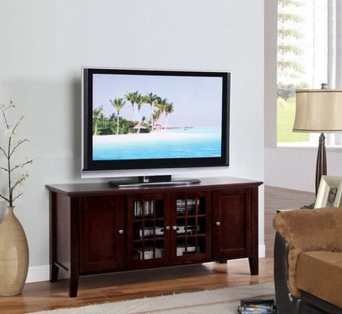 Impressive Preferred Wooden TV Stands For Flat Screens Regarding Amazon Dark Cherry Finish Wooden Media Console 55 Inch Flat (View 25 of 50)