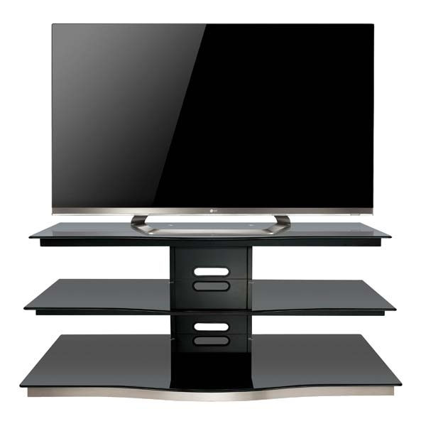 Impressive Premium Glass Front TV Stands For Bello Modern Curved Front Black Glass 55 Inch Tv Stand Black Pvs (Image 26 of 50)