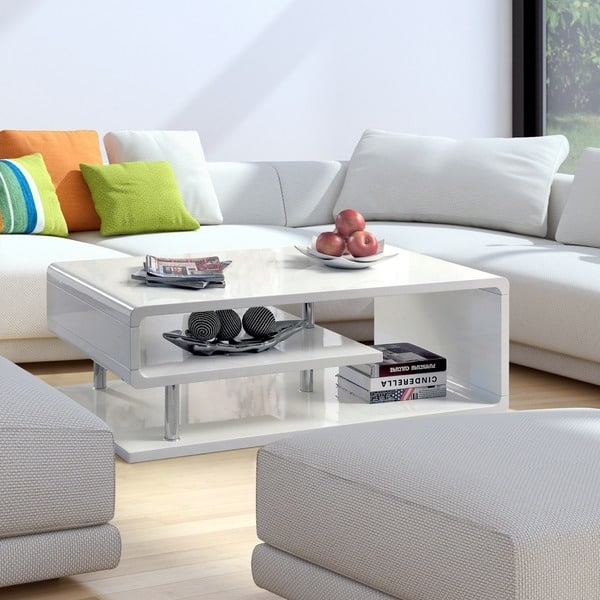 Impressive Premium Gloss Coffee Tables Within Furniture Of America Inomata Geometric High Gloss Coffee Table (View 46 of 50)