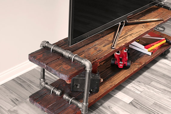 Impressive Premium Industrial TV Stands For Vintage Industrial Cast Iron Pipe Table Tv Stand (Image 30 of 50)