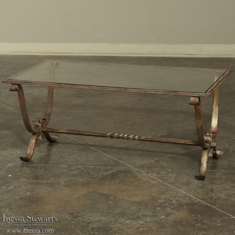 Impressive Premium Iron Glass Coffee Table Intended For Antique Wrought Iron Glass Coffee Table Inessa Stewarts Antiques (Image 32 of 50)