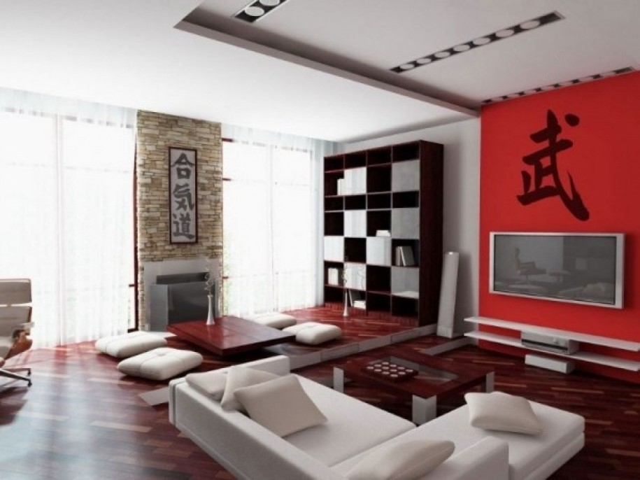 Impressive Premium Red Modern TV Stands Throughout Apartments Excellent Japanese Living Room Decoration Ideas With (Image 21 of 50)