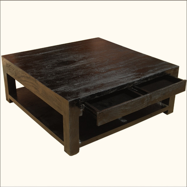 Impressive Premium Square Dark Wood Coffee Table Intended For Atlanta Modern Square Coffee Tables Square Wood Coffee Table (Image 26 of 40)