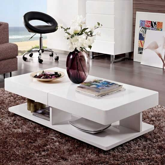 Impressive Premium Verona Coffee Tables With Verona Extendable High Gloss Coffee Table In White  (Image 29 of 50)
