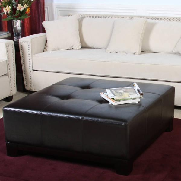 Impressive Series Of Brown Leather Ottoman Coffee Tables Intended For Black Leather Storage Ottoman Coffee Table (View 44 of 50)