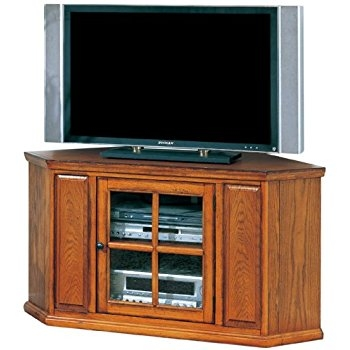 Impressive Series Of Corner Oak TV Stands Regarding Amazon Leick 80385 Oak Leaded Glass Corner Tv Stand Kitchen (Image 27 of 50)