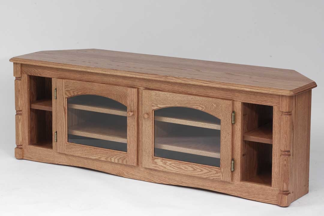 Impressive Series Of Corner Wooden TV Cabinets Within Solid Oak Country Style Corner Tv Stand 60 The Oak Furniture Shop (View 46 of 50)