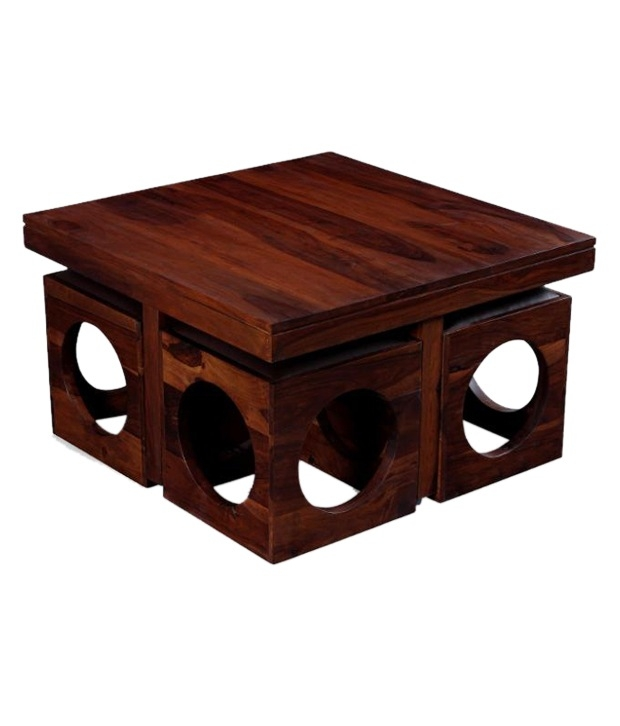 Impressive Series Of Ethnic Coffee Tables Regarding Ethnic India Art Solid Wood Coffee Table With 4 Stools Buy (Image 20 of 50)