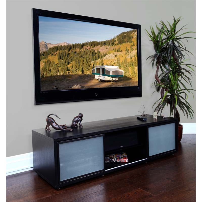 Impressive Series Of Glass And Oak TV Stands Inside Plateau Sr Series Retro Tv Cabinet With Glass Doors For 48 65 Inch (Image 19 of 50)