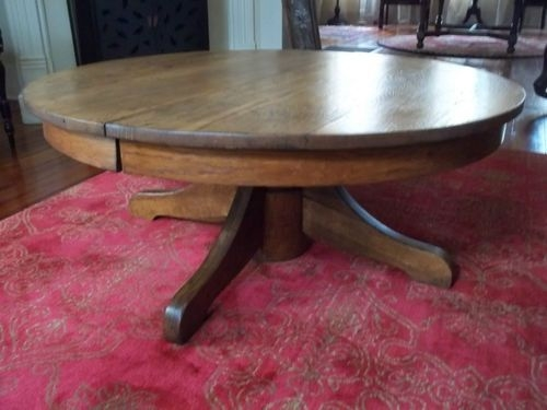 Impressive Series Of Round Oak Coffee Tables With Regard To Antique Tiger Oak Round Pedestal Coffee Table 42 Diameter (View 13 of 40)