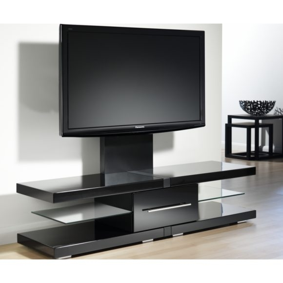 Impressive Series Of Single TV Stands Within Furniture Black Wooden Tv Stand With Triple Shelves Also Short (View 36 of 50)