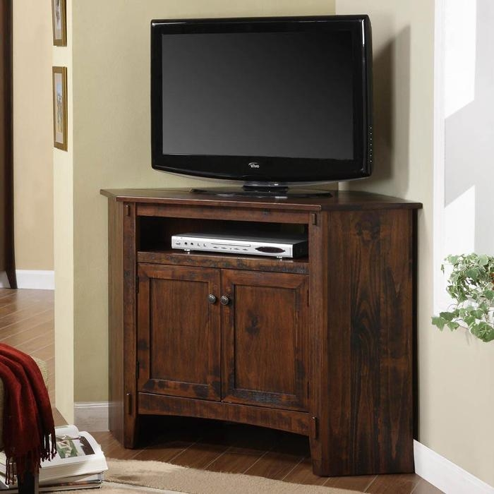 Impressive Series Of Small Corner TV Stands With Regard To Corner Tv Stand Solution For Small Place (View 9 of 50)