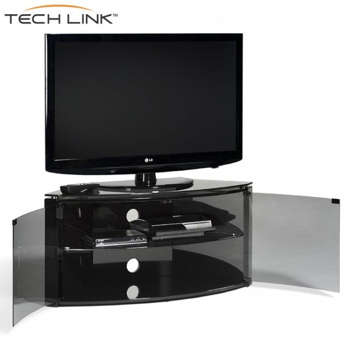 Impressive Series Of Techlink Corner TV Stands Intended For Techlink B6b Bench Piano Gloss Black With Smoked Glass Corner Tv (View 29 of 50)