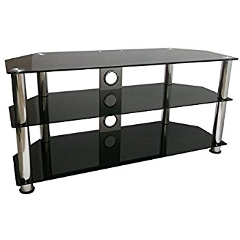 Impressive Series Of TV Stands 100cm Wide Inside Black Glass Tv Stand 100cm 32 55 Gloss Black Tv Amazoncouk (View 33 of 50)