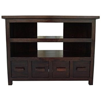 Impressive Series Of Walnut Corner TV Stands For Homescapes Tall Corner Tv Unit Stand Walnut Shade 100 Mango Wood (Image 35 of 50)