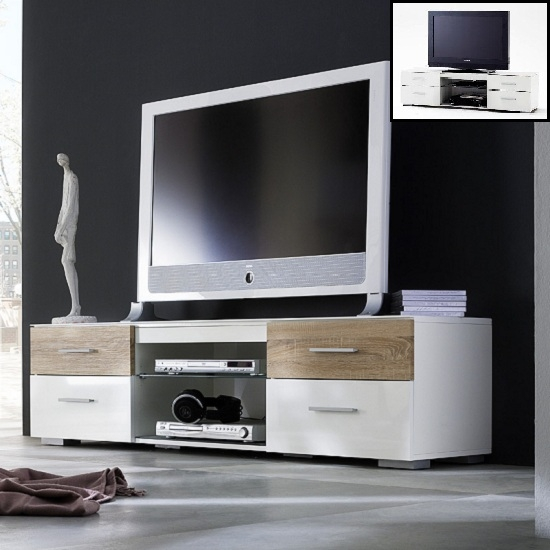 Impressive Series Of White And Wood TV Stands In Portland Lcd Tv Stand In White High Gloss And Oak  (Image 29 of 50)