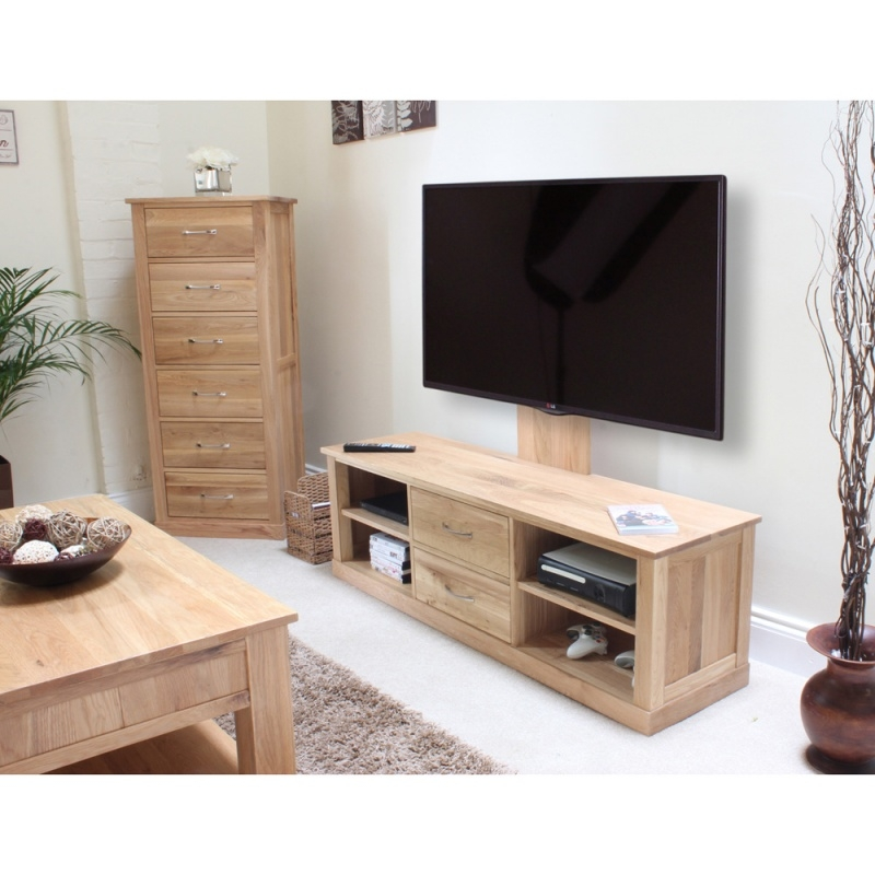 Impressive Series Of Widescreen TV Stands Regarding Oak Tv Stand With Glass Doors Un Varnish Teak Wood Media Cabinet (Image 25 of 50)
