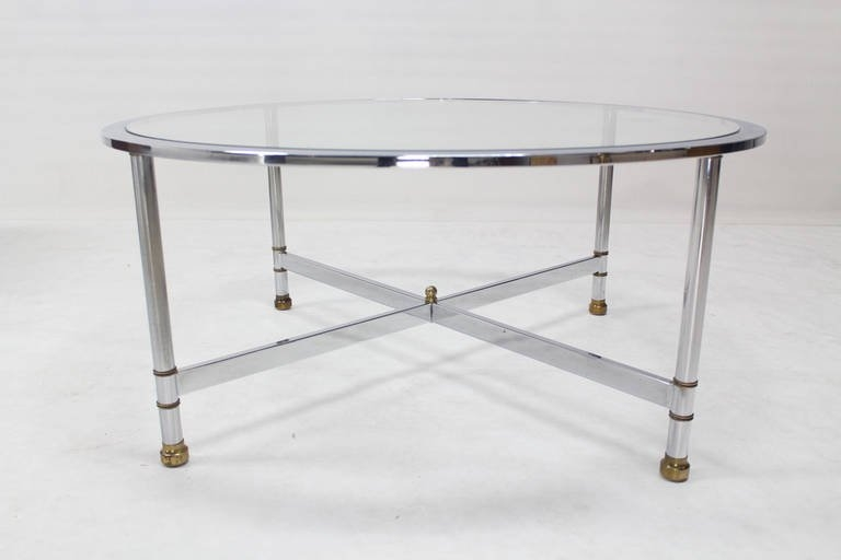 Impressive Top Chrome And Glass Coffee Tables Regarding Chrome Brass And Glass Round Coffee Table Jansen For Sale At (Image 28 of 50)