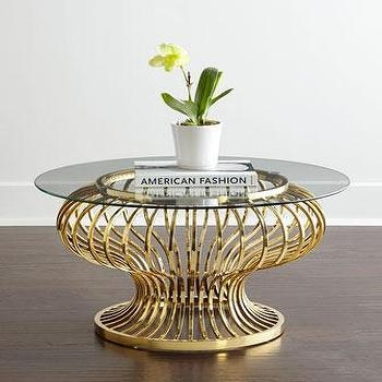Impressive Top Glass Gold Coffee Tables Intended For Winchester Round Gold  Glass Coffee Table (Image