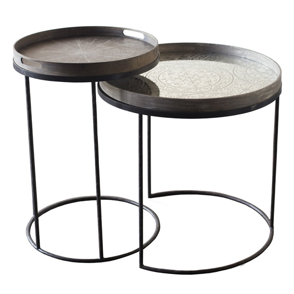 Impressive Top Round Tray Coffee Tables Pertaining To Notre Mondes Entire Collection Of Trays Tables And Mirrors (Image 29 of 50)