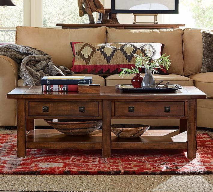 Impressive Top Rustic Coffee Tables And Tv Stands In Benchwright Rectangular Coffee Table Rustic Mahogany Pottery Barn (View 2 of 50)