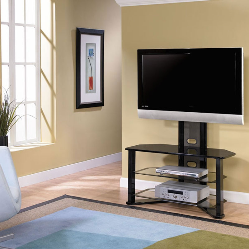 Impressive Trendy 32 Inch Corner TV Stands Throughout Z Line Designs Madrid Corner Glass Tv Stand With Integrated Mount (Image 26 of 50)