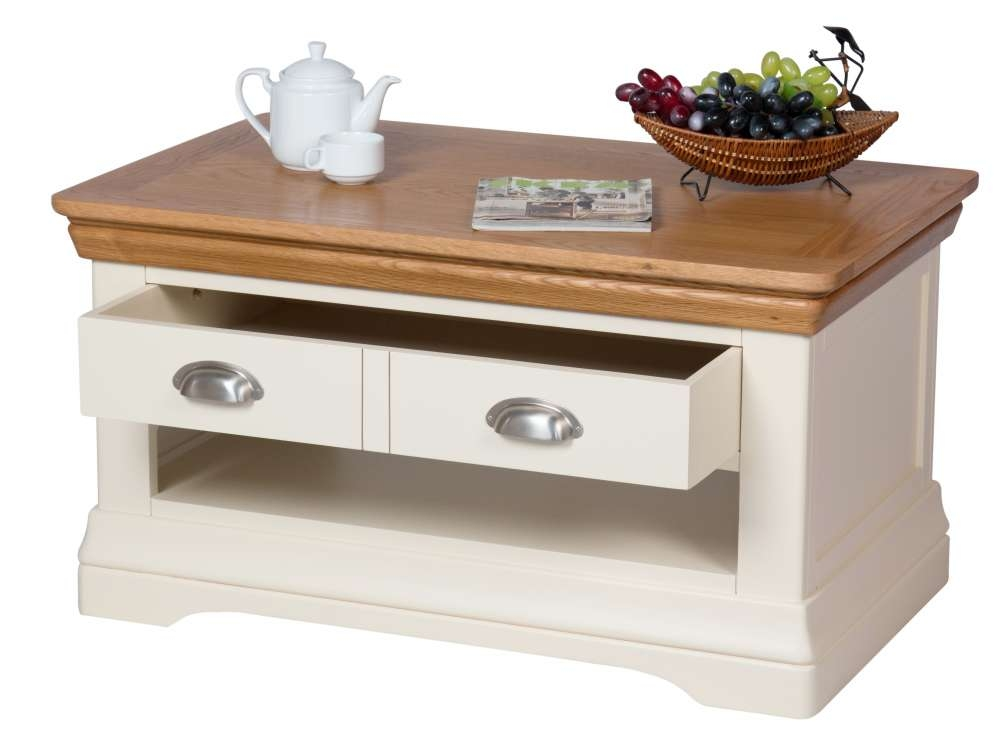 Impressive Trendy Cream And Oak Coffee Tables Pertaining To Farmhouse Cream Painted Oak Coffee Table With Drawers (Image 25 of 40)