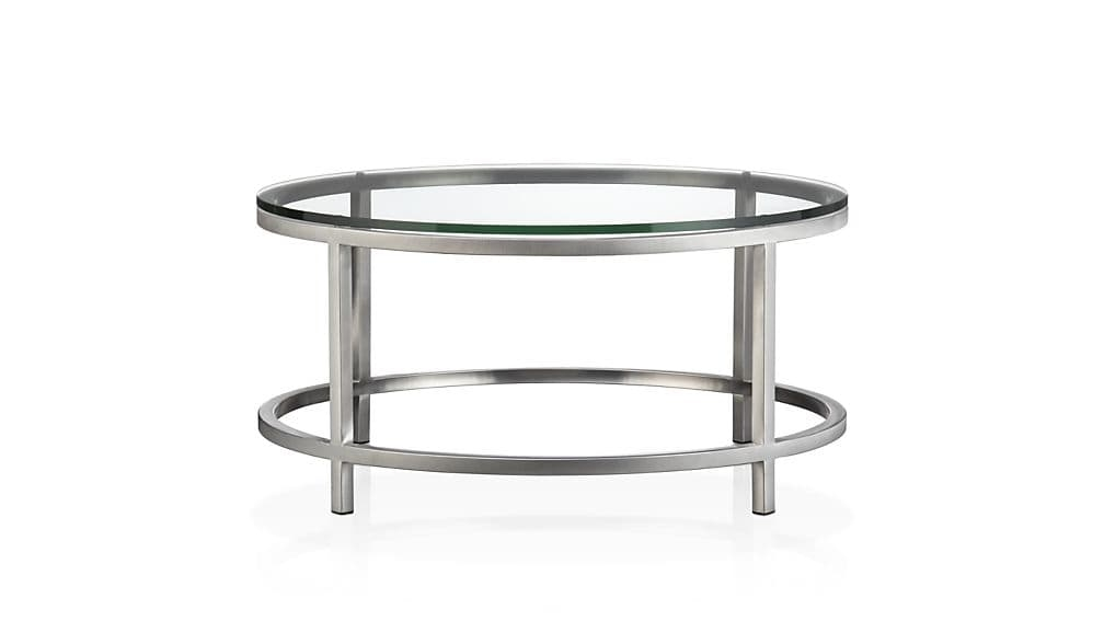 Impressive Trendy Glass Steel Coffee Tables In Era Round Glass Coffee Table Crate And Barrel (Image 29 of 50)