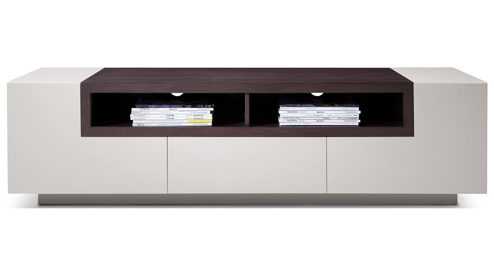 Impressive Trendy Grey TV Stands In High Gloss Grey Tv Stand Media Console With Dark Oak Shelves (Image 32 of 50)