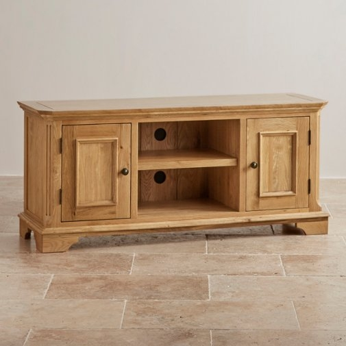Impressive Trendy Large Oak TV Cabinets With Edinburgh Tv Cabinet In Natural Solid Oak Oak Furniture Land (Image 30 of 50)
