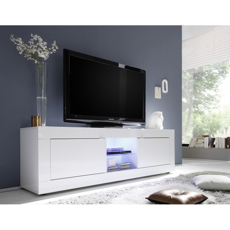 Impressive Trendy Long White TV Stands Within Tv Stands Glamorous White High Gloss Tv Stand 2017 Design Black (Image 27 of 50)