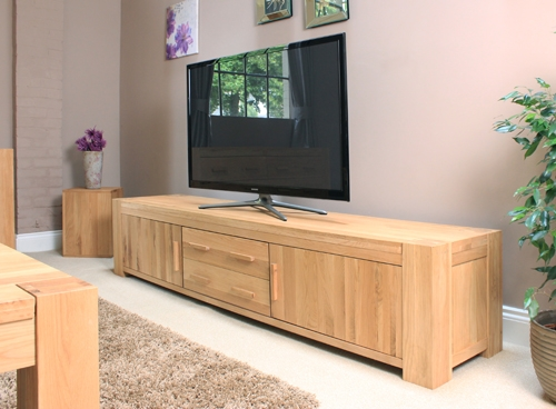Impressive Trendy Oak TV Cabinets With Doors Throughout Atlas Widescreen Television Cabinet With Doors Atlas Oak (Image 32 of 50)
