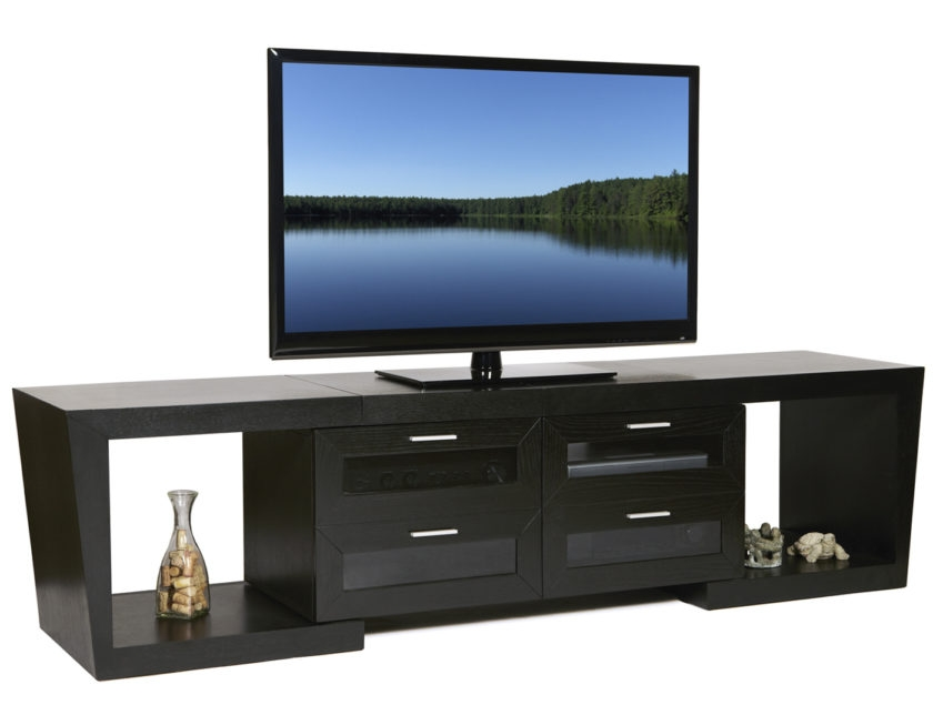 Impressive Trendy Rectangular TV Stands Intended For Rectangle Black Narrow Short Tv Stand With Square Shelves And (Image 30 of 50)