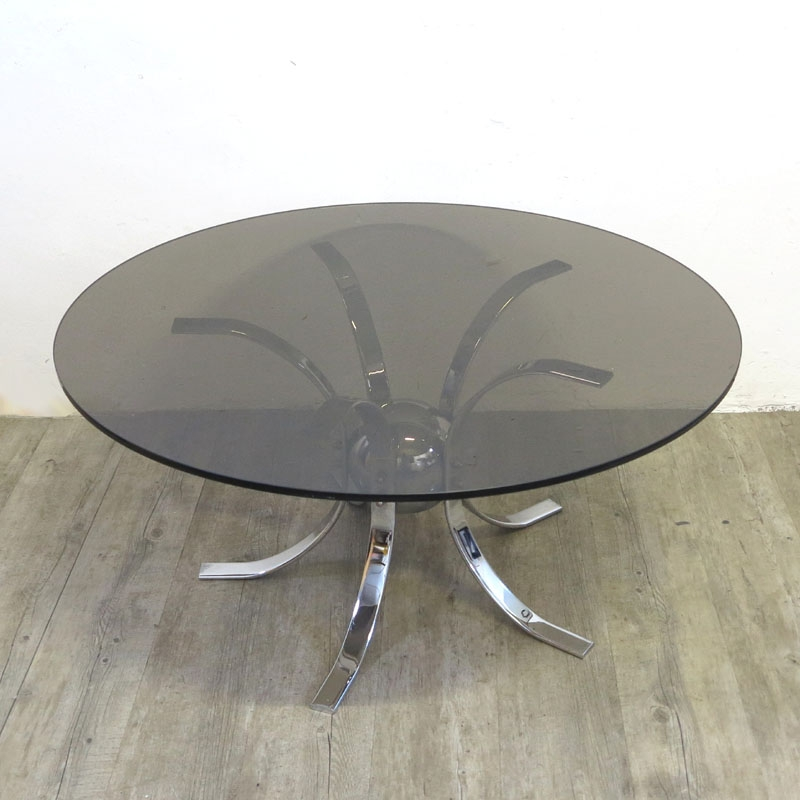 Impressive Trendy Retro Smoked Glass Coffee Tables With Regard To Vintage Chrome Smoked Glass Table 1960s For Sale At Pamono (View 11 of 40)