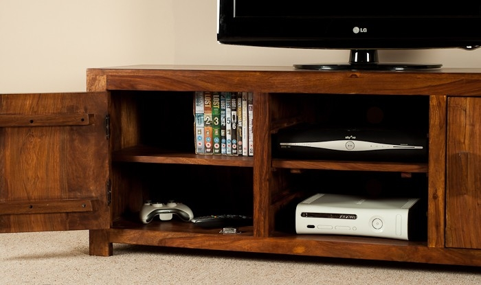 Impressive Trendy Sheesham Wood TV Stands With Regard To Solid Wood Media Console Casa Bella Furniture Uk (View 20 of 50)