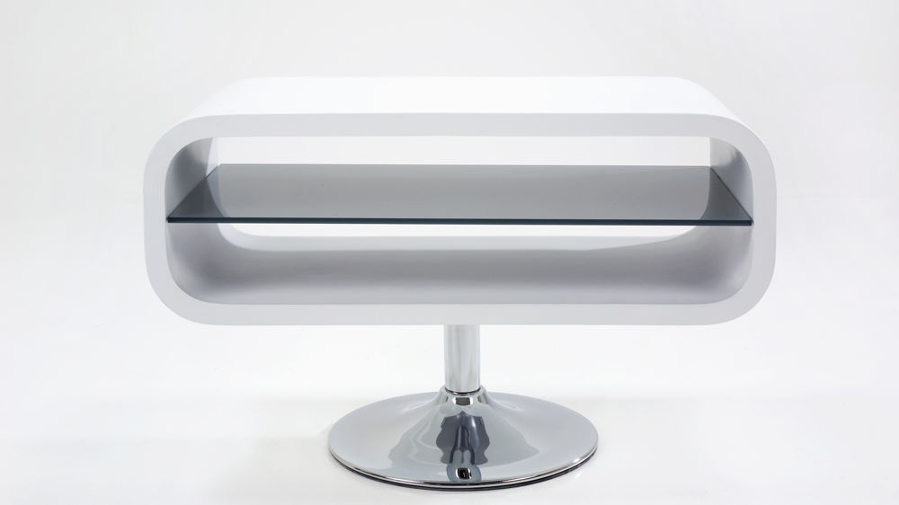 Impressive Trendy Small White TV Stands Inside Modern White Tv Stand Chrome Pedestal Base White Gloss (Image 24 of 50)
