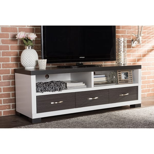 Impressive Trendy TV Cabinets With Drawers In Oxley 59 Inch Modern And Contemporary Two Tone White And Dark (Image 29 of 50)