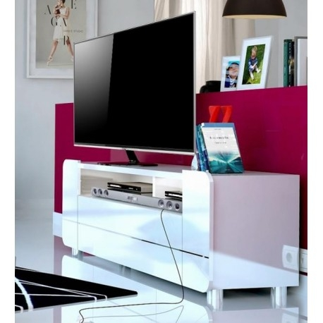 Impressive Trendy TV Stands With LED Lights Regarding Bump White Gloss Tv Stand With Led Lights Tv Stands Sena Home (Image 29 of 50)