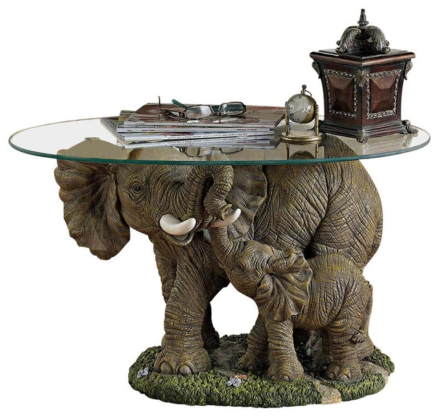 Impressive Unique Elephant Glass Coffee Tables Regarding Elephants Majesty Glass Topped Cocktail Table Mediterranean (Image 22 of 40)