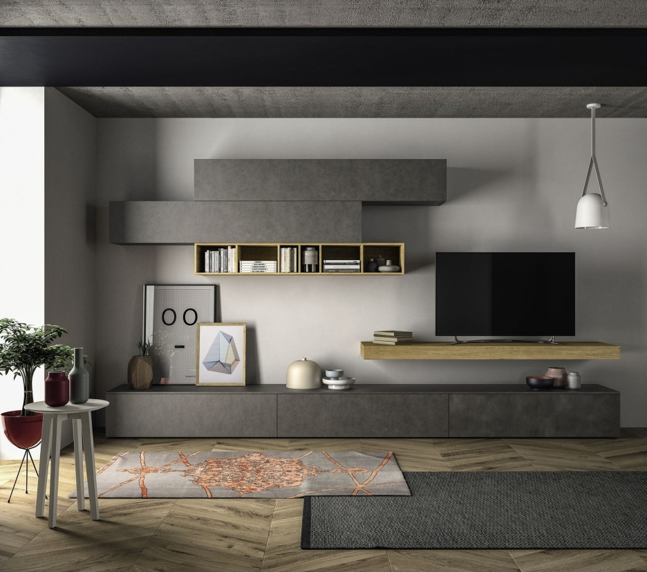 Impressive Unique Modular TV Stands Furniture With Regard To Incredible Entertainment Wall Unit Presenting Flowing Hardwood Tv (Image 27 of 50)