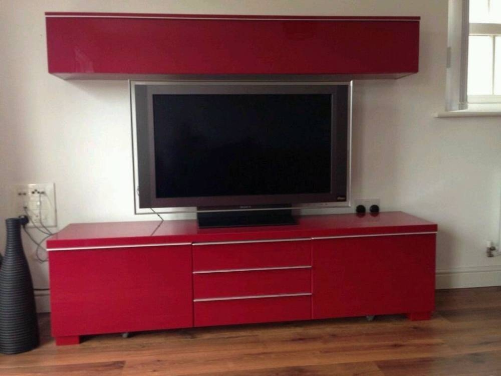 Impressive Unique Red Gloss TV Stands Within White High Gloss Tv Stand Ikea Home Design Ideas (View 14 of 50)